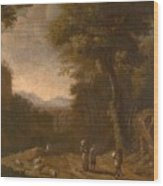 Swanevelt, Herman Van Woerden, 1603 - Paris, 1655 Landscape With Travellers And A Shepherd 1635 - 16 Wood Print