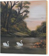 Swans At Dusk.for Sale Wood Print