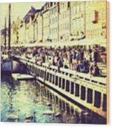 Swans In Nyhavn Wood Print