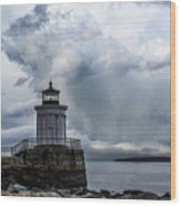Sweeping Clouds Over Bug Light Wood Print
