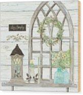 Sweet Life Farmhouse 3 Gothic Window Lantern Floral Shiplap Wood Wood Print