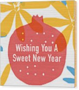 Sweet New Year Card- Art By Linda Woods Wood Print