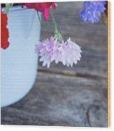 Sweet Pea And Corn Flowers Wood Print
