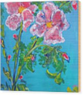 Sweet Pea Flowers On A Vine Wood Print