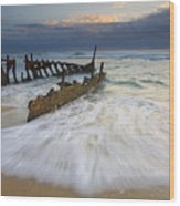 Swept Ashore Wood Print by Mike  Dawson