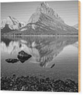 Swift Current Lake Reflection Black And White  Wood Print