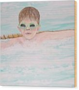 Swim Meet Wood Print by Janna Columbus