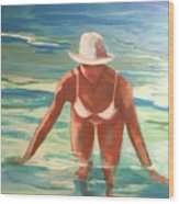 Swimmer In Blue Wood Print