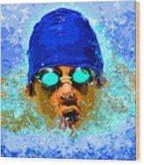 Swimmer Wood Print