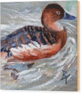 Swimming Aceo Wood Print