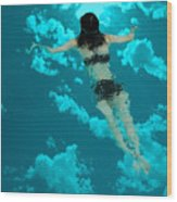 Swimming In The Sky Wood Print