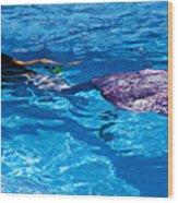 Swimming Mermaid Wood Print