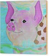 Swimming Piggy Wood Print