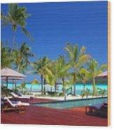Swimming Pool At Beach Wood Print
