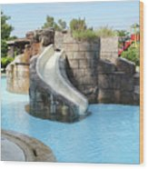 Swimming Pool With Slide For Children Wood Print