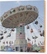 Swing Carousel At County Fair Wood Print