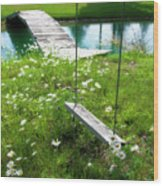 Swing In The Daisies With Bridge Wood Print