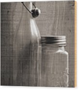 Jar And Bottle  Wood Print