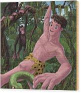 Swinging Boy Tarzan Wood Print