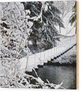 Swinging Bridge Over Gauley River Wood Print