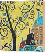 Swirl Tree Two Birds And Houses Wood Print