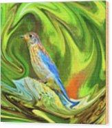 Swirling Bluebird Abstract Wood Print