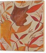 Swirling Leaves Wood Print