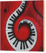 Swirling Piano Keys- Music In Motion Wood Print
