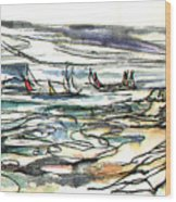 Swirling Sailboats Wood Print