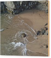 Swirling Surf And Rocks Wood Print by Charlene Mitchell