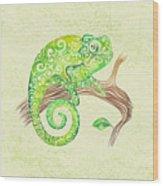 Swirly Chameleon Wood Print