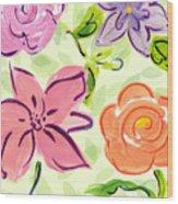 Swirly Flowers Wood Print