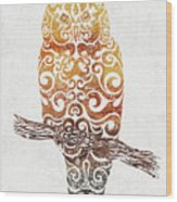 Swirly Owl Wood Print