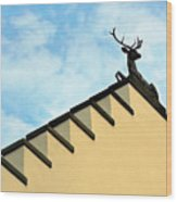 Swiss Deer On Zurich Rooftop Wood Print