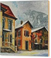 Switzerland - Town In The Alps Wood Print