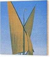 Switzerland, Lake Geneva, Montreux, Sailing Boat Wood Print