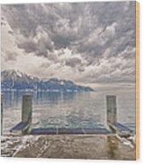 Switzerland, Montreux, Dock On The Lake. Wood Print