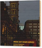 Sydney Clock On Anzac Day At Dawn Wood Print