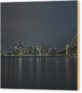 Sydney Downtown  With Opera House And Harbour Bridge At Night Wood Print