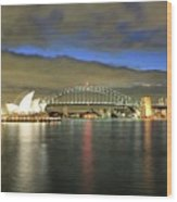 Sydney Harbor At Blue Hour Wood Print