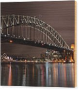 Sydney Harbor At Night Wood Print