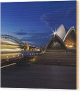 Sydney Opera House At Night Wood Print