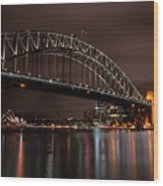 Sydney Harbor At Night With Train Wood Print