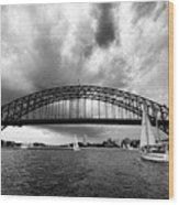 Sydney Harbor Bridge Black And White V2 Wood Print