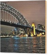 Sydney Harbor Bridge Night View Wood Print