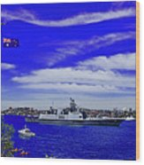 Sydney Harbour And Flying Flag Wood Print