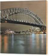 Sydney Harbour At Night Wood Print
