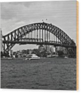 Sydney Harbour Bridge In Black And White Wood Print