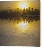 Sydney Harbour Sunset Abstract Wood Print