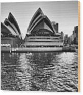 Sydney Opera House-black And White Wood Print